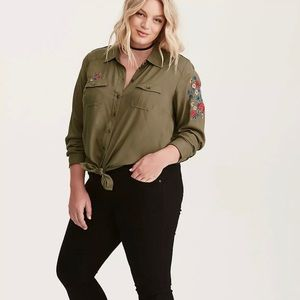 Torrid Olive Green Floral Embroidered Button Down
